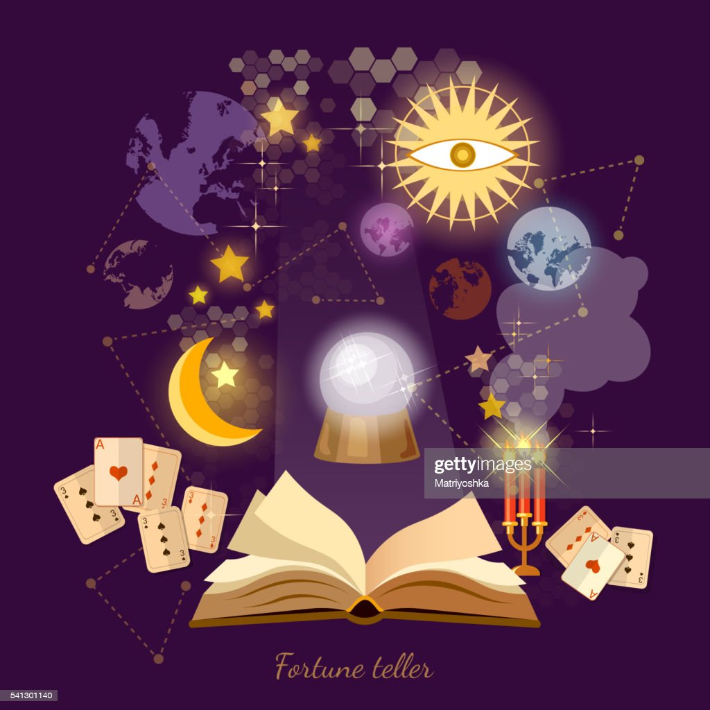 Fortune teller crystal ball in psychics magic book astrology