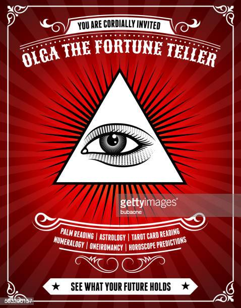 fortune teller poster on red background - fate stock illustrations