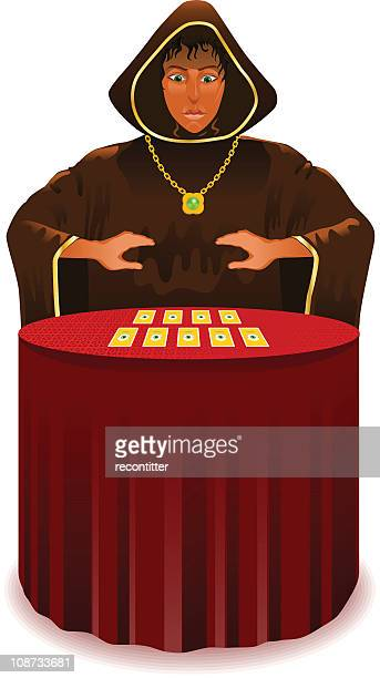 fortune teller with mystic cards - tarot cards stock illustrations, clip art, cartoons, & icons