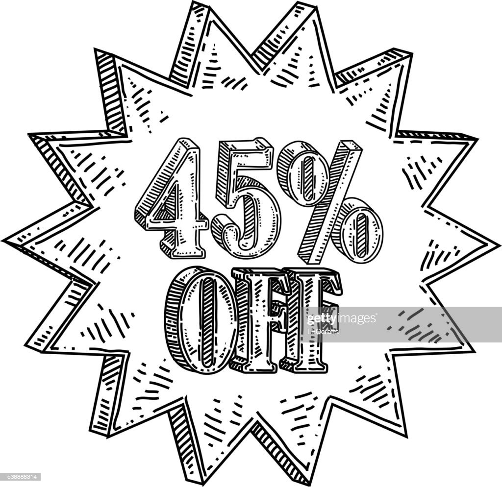 Forty five percent off Text Drawing : stock illustration
