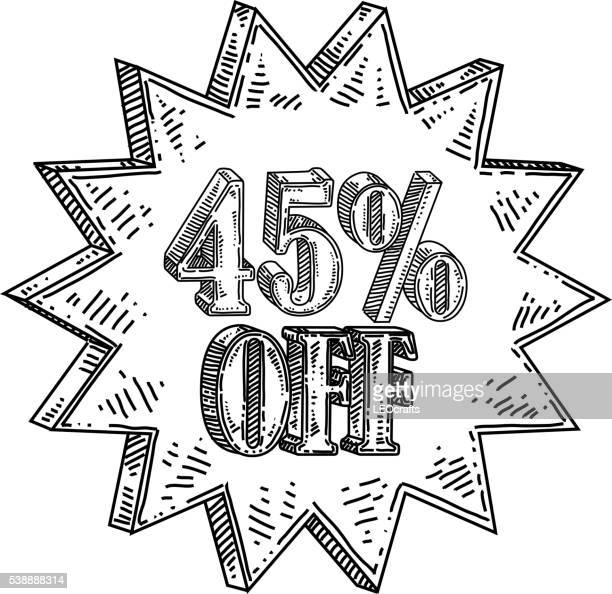 Forty five percent off Text Drawing