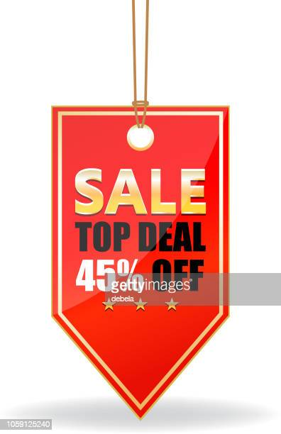 Forty Five Percent Sale Top Deal Shiny Red Price Tag On A Rope