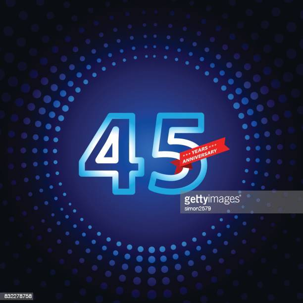 Forty five years anniversary icon with blue color background