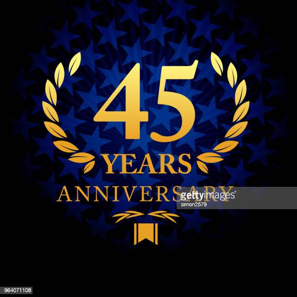Forty Five years anniversary icon with blue color star shape background