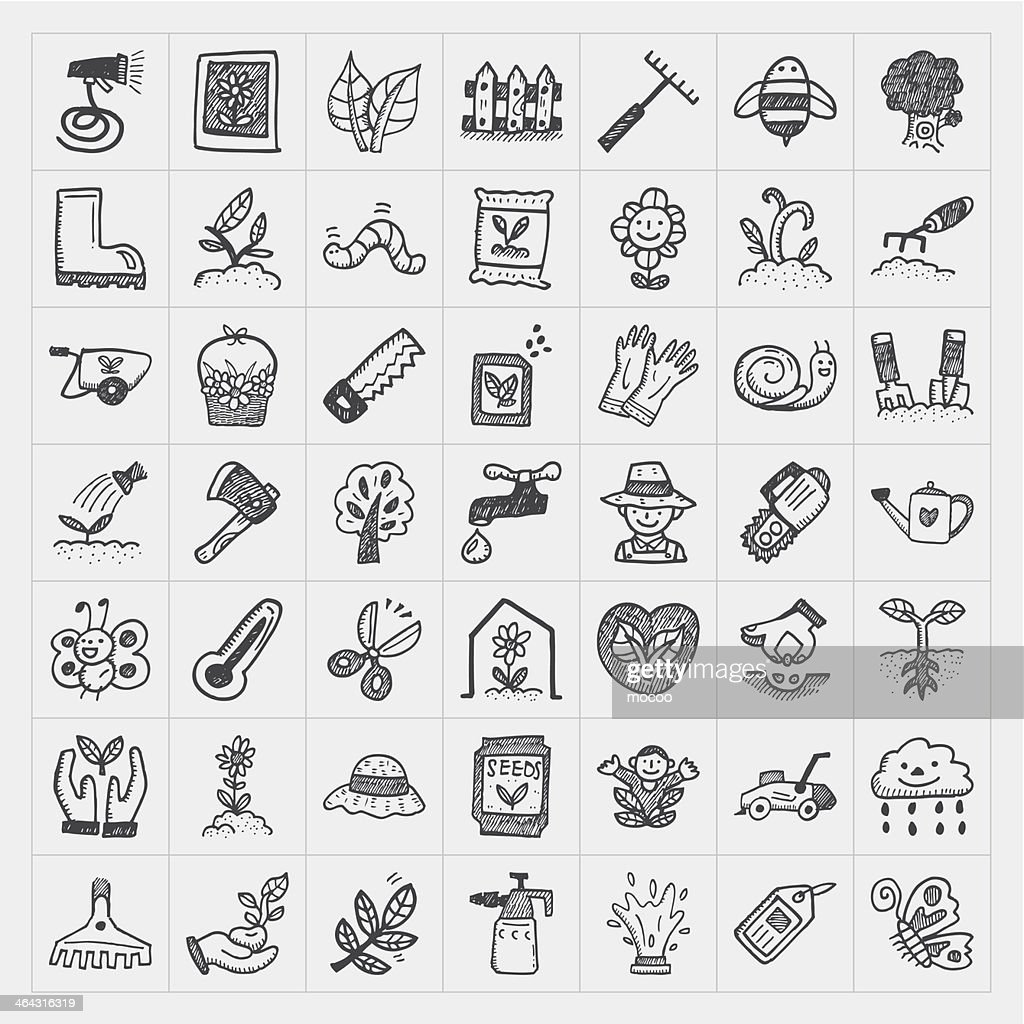 Forty nine doodle icons for gardening