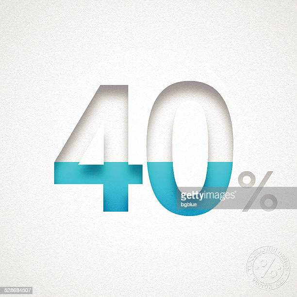 40 パーセントデザイン(40% )-ブルーの番号を水彩画紙 - 数字の40点のイラスト素材/クリップアート素材/マンガ素材/アイコン素材