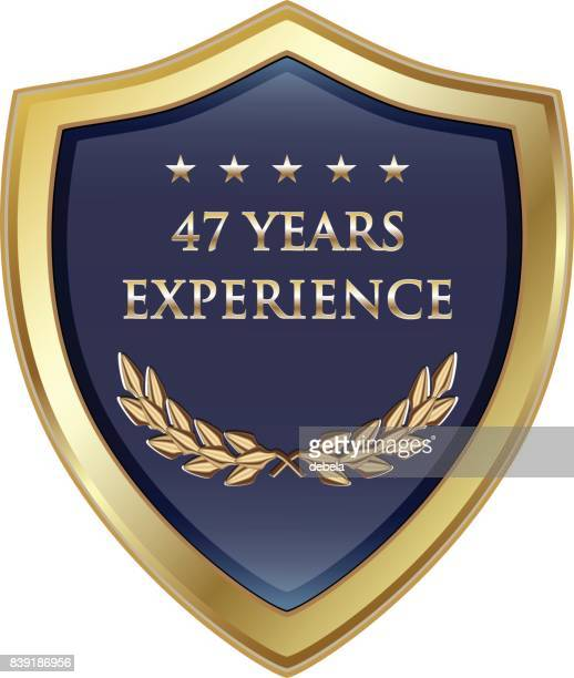 forty seven years experience gold shield - 45 49 years stock illustrations, clip art, cartoons, & icons