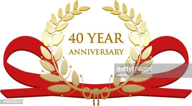 forty year anniversary celebration gold award - 40th anniversary stock illustrations, clip art, cartoons, & icons