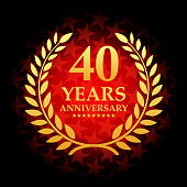 Forty year anniversary icon with red color star shape background