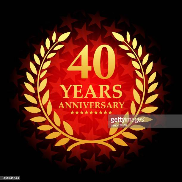 forty year anniversary icon with red color star shape background - 40th anniversary stock illustrations, clip art, cartoons, & icons