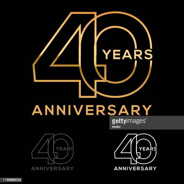 forty year anniversary - 40th anniversary stock illustrations