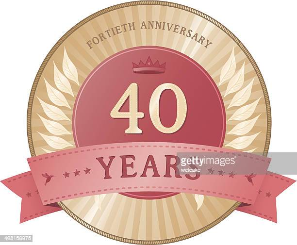 forty years anniversary badge - 40th anniversary stock illustrations