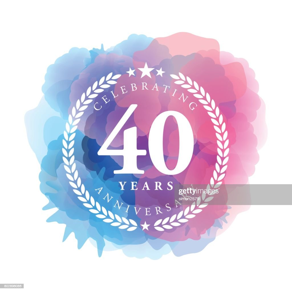 Forty Years Anniversary Emblem on blue color watercolor background