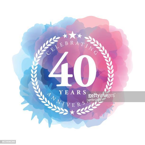 forty years anniversary emblem on blue color watercolor background - 40 44 years stock illustrations