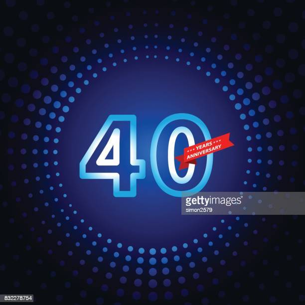 Forty years anniversary icon with blue color background