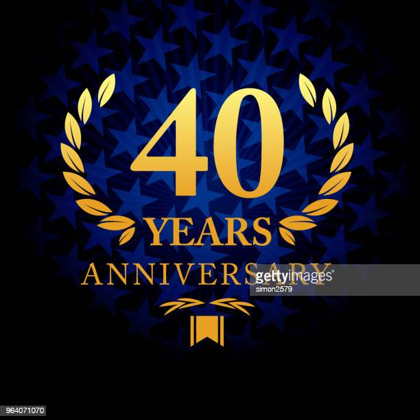 forty years anniversary icon with blue color star shape background - 40th anniversary stock illustrations, clip art, cartoons, & icons