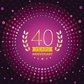 Forty years anniversary icon with purple color background
