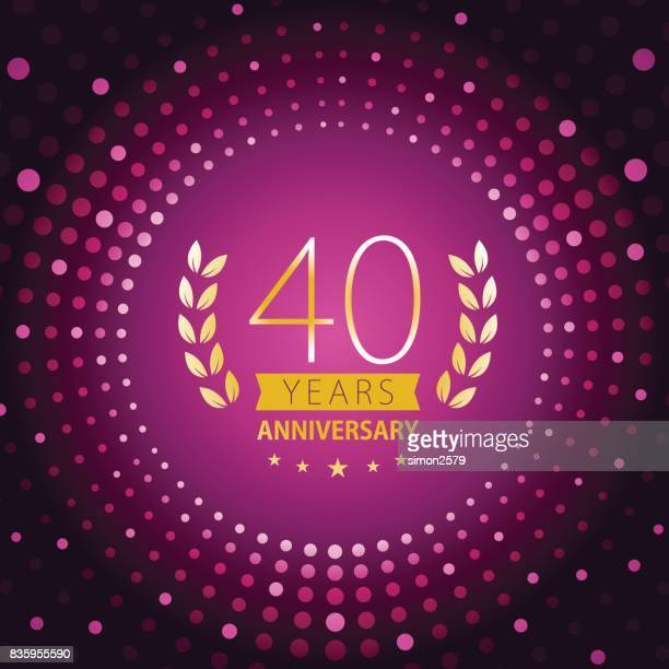 forty years anniversary icon with purple color background - 40th anniversary stock illustrations, clip art, cartoons, & icons