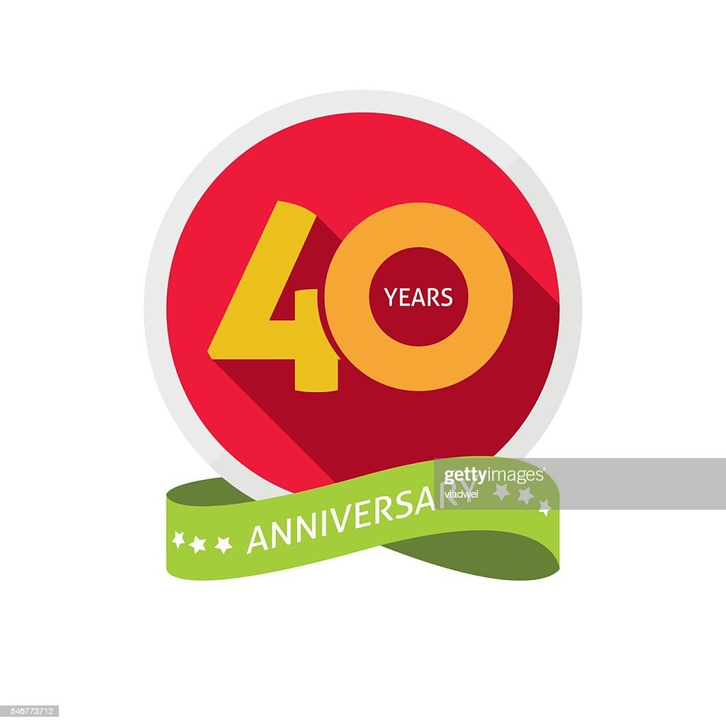 Forty years anniversary logo, 40 year birthday sticker label