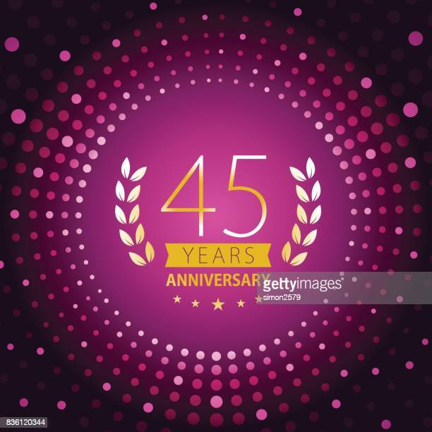 Forty-five years anniversary icon with purple color background