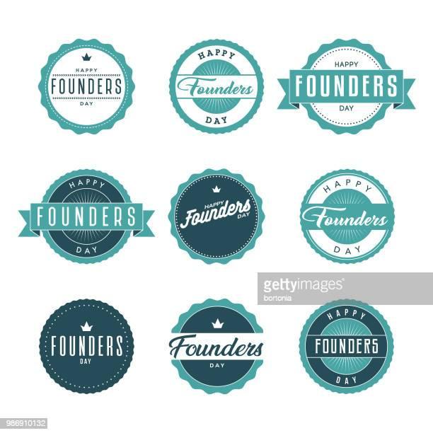 ilustrações de stock, clip art, desenhos animados e ícones de founders day icon set - fundador