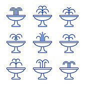 Fountain black icon set. Vector isolated flat illustration