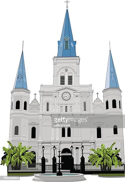 fountain in front of st louis cathedral, new orleans - new orleans stock illustrations, clip art, cartoons, & icons