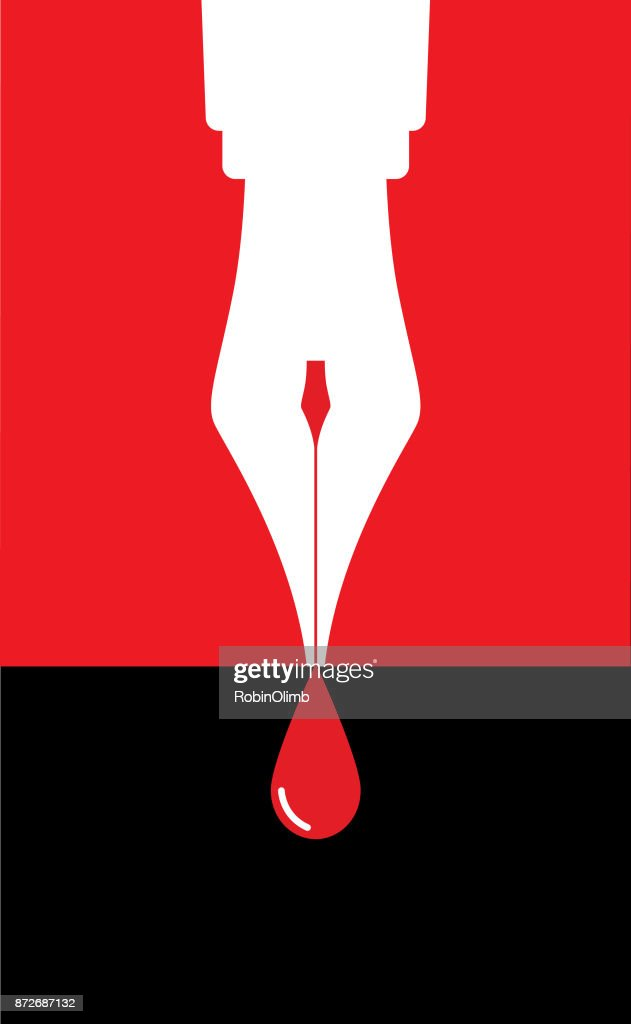 Fountain Pen Drop of Blood : stock illustration