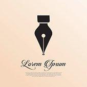 Fountain pen icon vintage style.