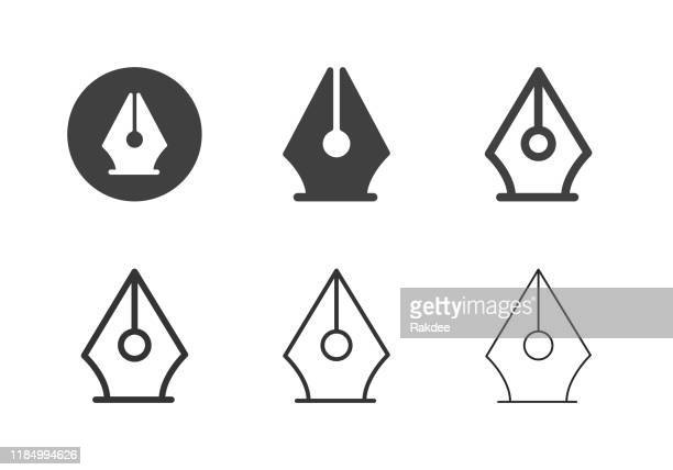 fountain pen icons - multi series - pen stock illustrations