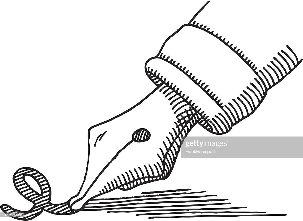 Fountain pen tip writing drawing vector art getty images