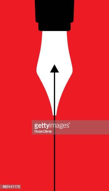 ilustrações, clipart, desenhos animados e ícones de caneta-tinteiro seta para cima - caneta
