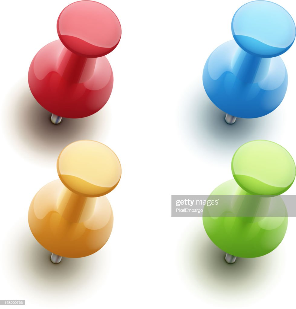 Four 3D push pins of different colors, isolated on white