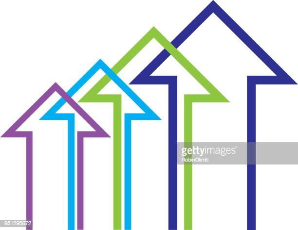 four abstract arrows icon - moving up stock illustrations