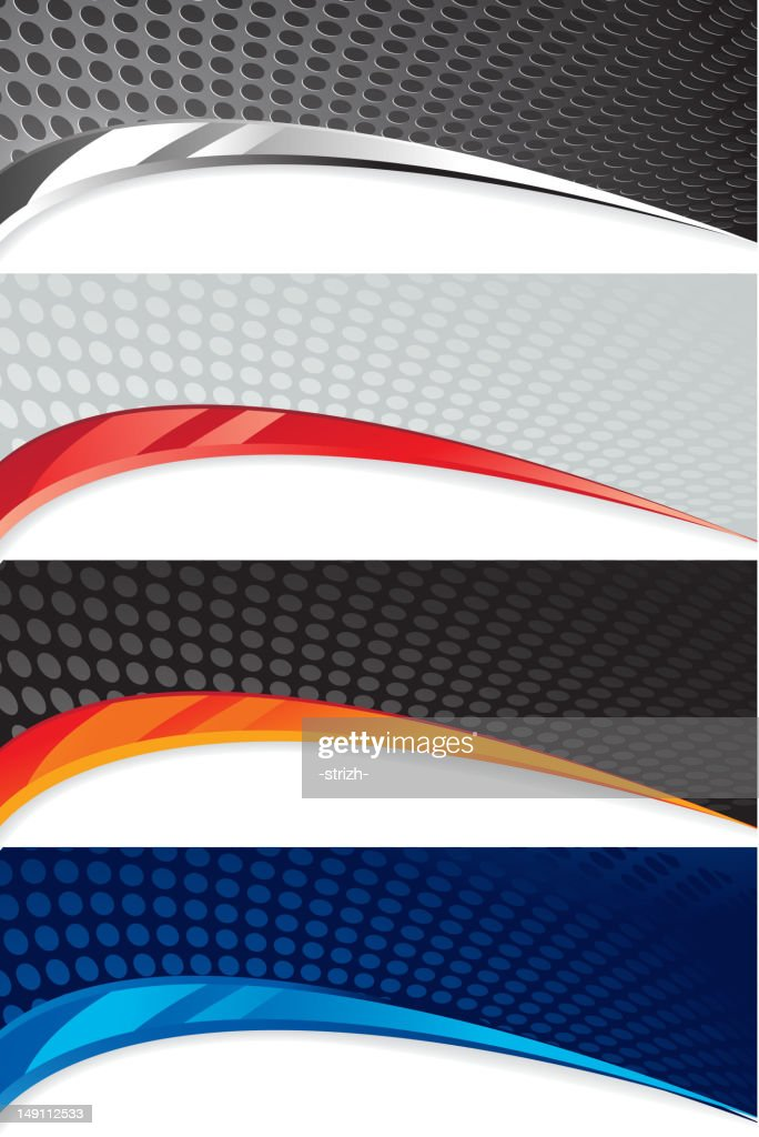 Four abstract banner with circle pattern