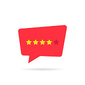 four abstract rating star like positive feedback