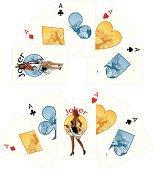 Four aces and Afroamerican Joker playing cards noir Mafia set