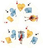 Four aces and Caucasian Joker playing cards noir Mafia set