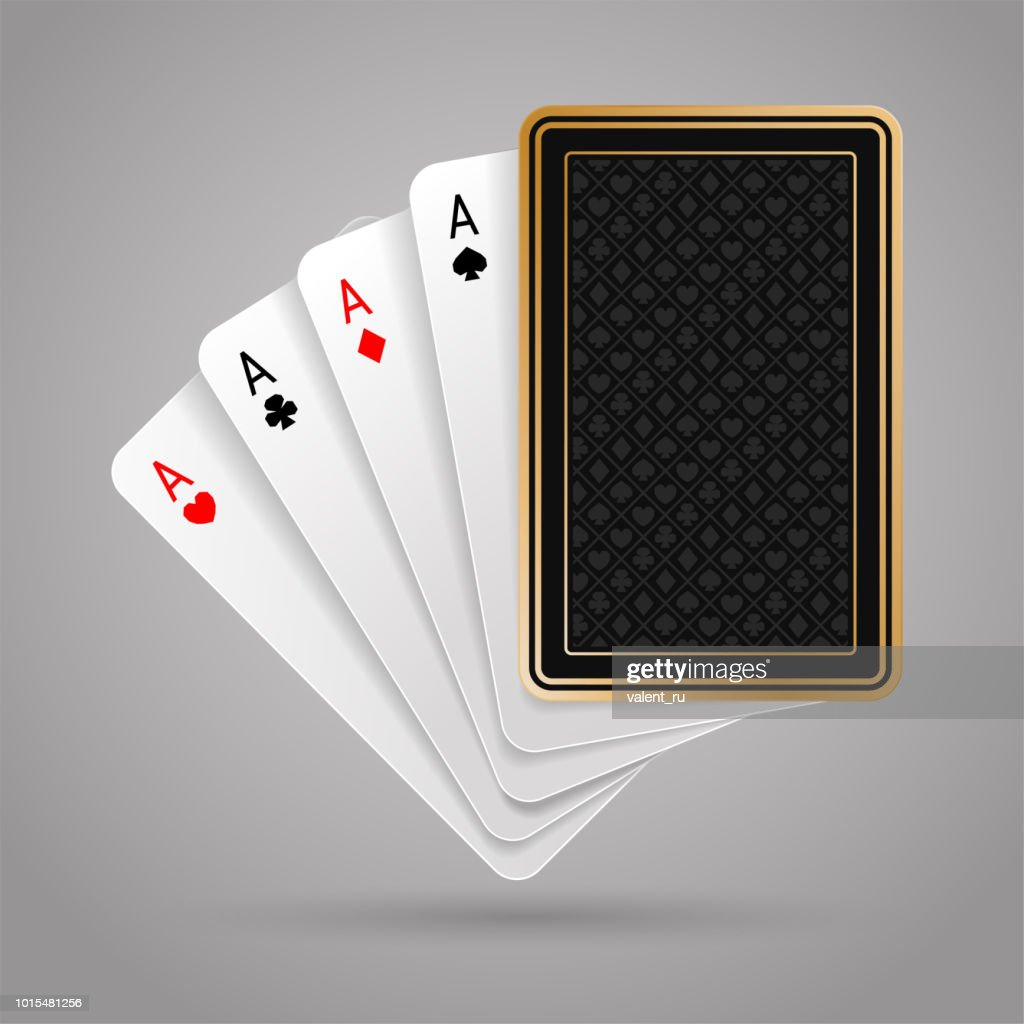 Four aces in five playing card. Winning poker hand