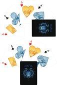 Four aces playing cards noir Mafia set