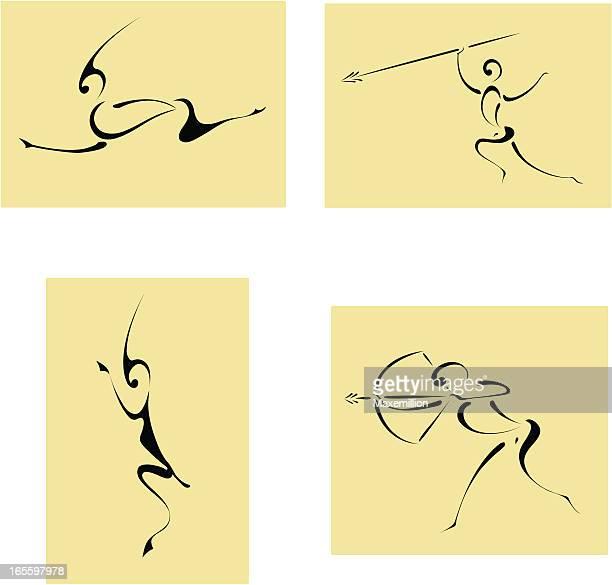 ilustraciones, imágenes clip art, dibujos animados e iconos de stock de cuatro iconos de caza de áfrica. - pintura rupestre