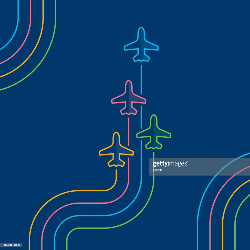 Four airplanes flying up on navy blue : stock illustration