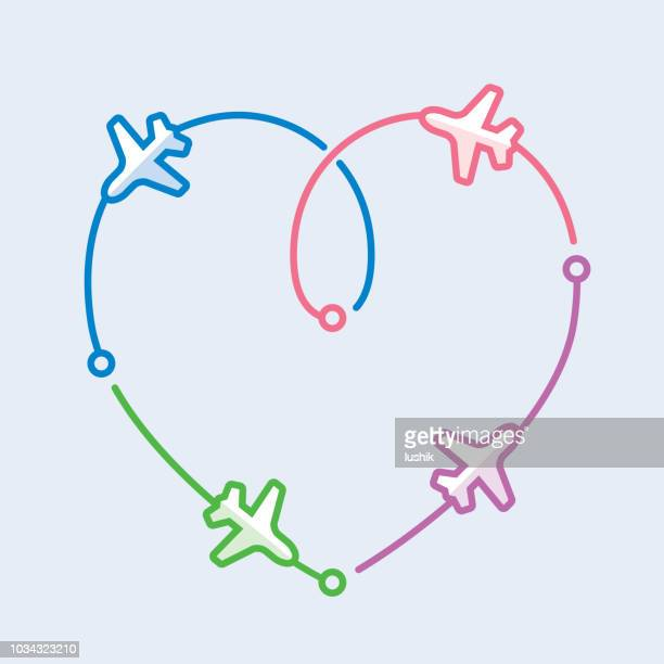 four airplanes leaving a heart shape trace - honeymoon stock illustrations, clip art, cartoons, & icons