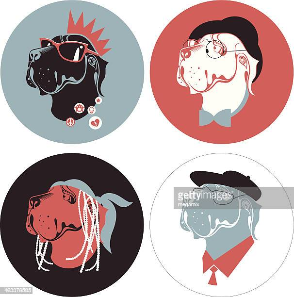 four anthropomorphic dogs. - punk person stock illustrations, clip art, cartoons, & icons