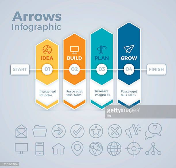 four arrows business nfographic - part of stock illustrations, clip art, cartoons, & icons