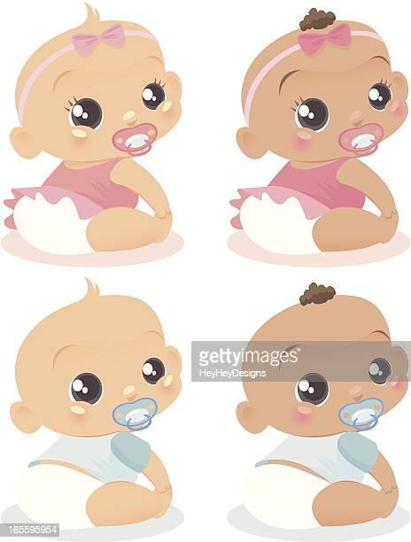 ilustrações, clipart, desenhos animados e ícones de quatro bebês! - bico