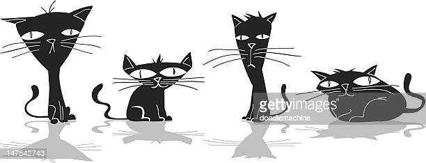 illustrations, cliparts, dessins animés et icônes de quatre chats noirs - chat humour