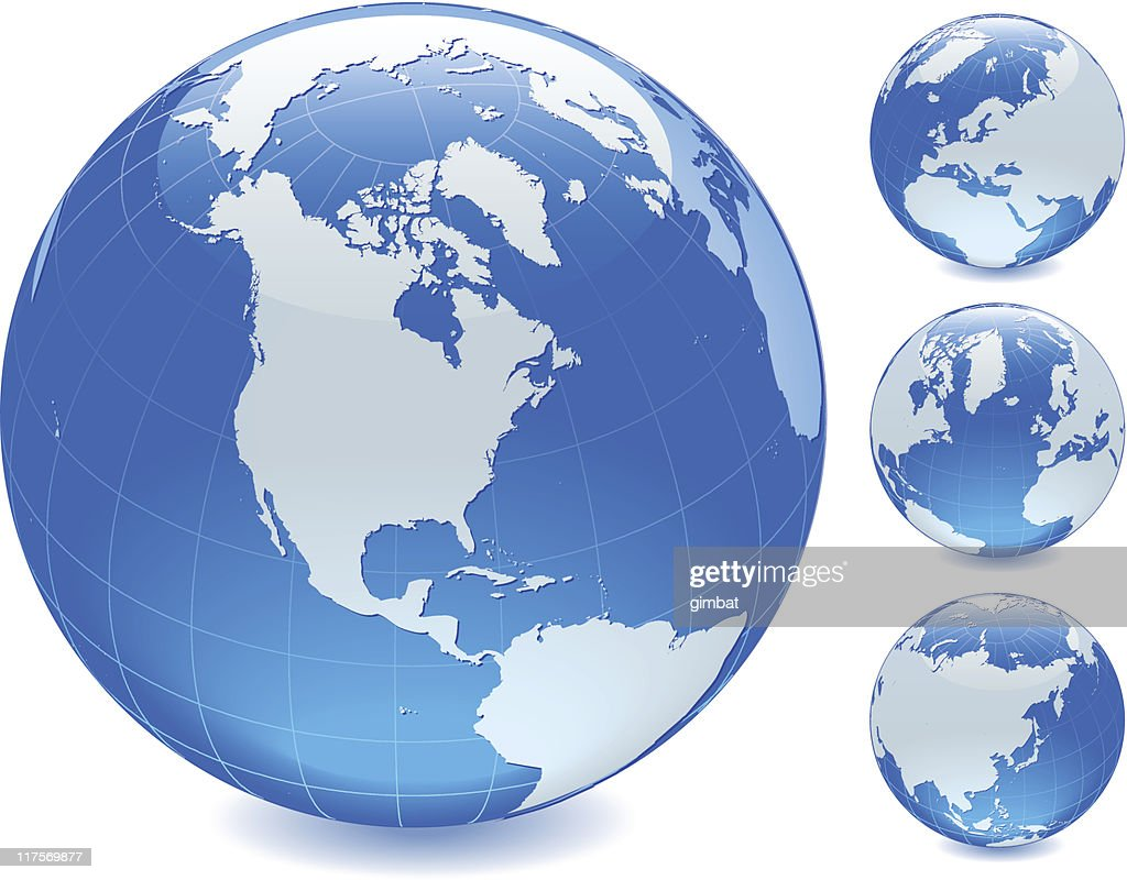Four blue globes, each showing a different side of earth