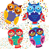 Four bright colorful owls. Vector set