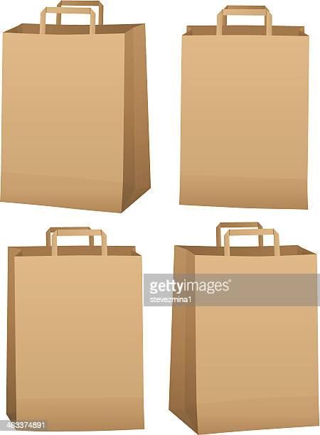 ブラウンの食料品のバッグ - 布の袋点のイラスト素材/クリップアート素材/マンガ素材/アイコン素材